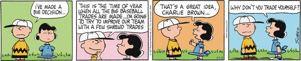 Peanuts Comic Strip, November 05, 2014 on GoComics.com