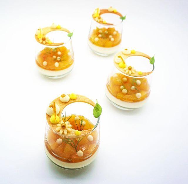 peach verrines vanilla bean & pistachio crémeux • peach, fennel, & chestnut honey compote • lemon & almond sablée .