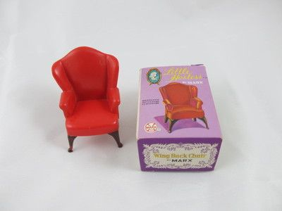 Vintage Box Little Hostess Marx Doll House Furniture Wing Back Chair