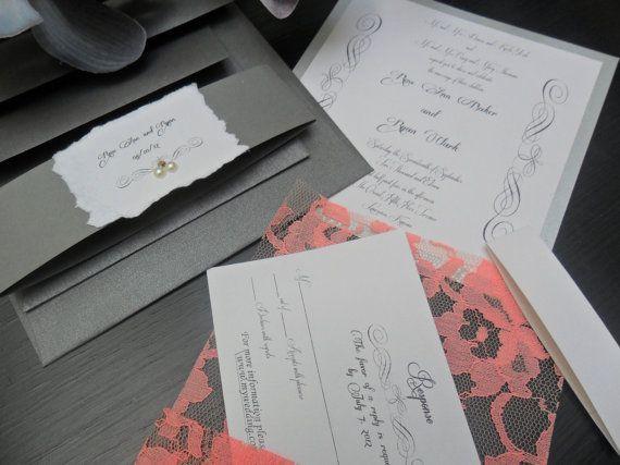 Lace Wedding Invitation The Venetian On Peach By Inkandlove 500