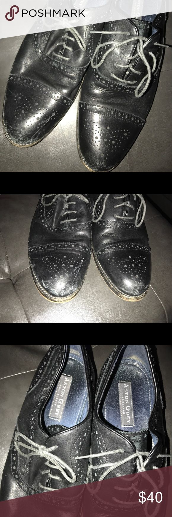 Ashton Grey Kobe Oxford Navy Sz 11 Gently Used Ashton Grey Navy Sz 11. All star looks are what you will get when you are wearing the Kobe cap toe oxford from Aston Grey! Whether in the office or out on the town, this leather lace up with brogue details will keep you in the game in comfort. Item # 307478 UPC # 684954843861 FEATURES  Leather upper Lace-up closure Brogue details Round cap toe with medallion design Leather lining Leather lined, cushioned footbed Shoes Loafers & Slip-Ons