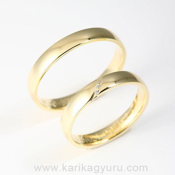 Karikagyűrű MAZ 87024 Y  Karikagyűrű pár 14 karátos sárga aranyból kb. 6 g. A női gyűrűt összesen 0,017ct G/vs minősítésű briliánsra csiszolt gyémánt díszíti.