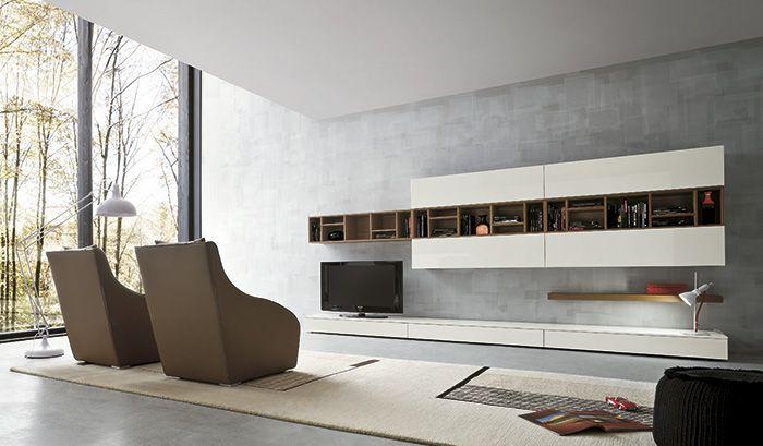 Modern Log Home Living Rooms Media Units