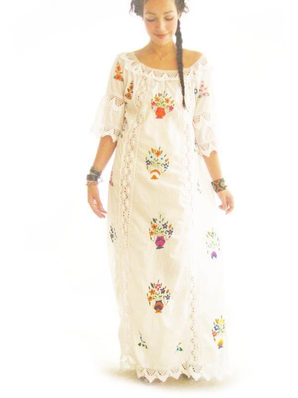 Katrina Mexico Ethnic Vintage Mexican Wedding Maxi Dress Lace Crochet Embroidered Off White Cotton Dess 7 Photo