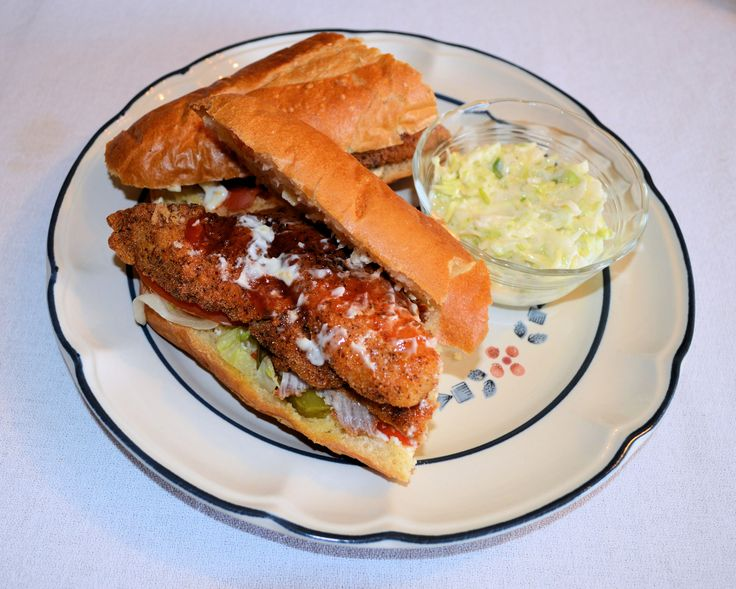 Coming to you from Baton Rouge, LA Catfish Po-Boy with Homemade Coleslaw