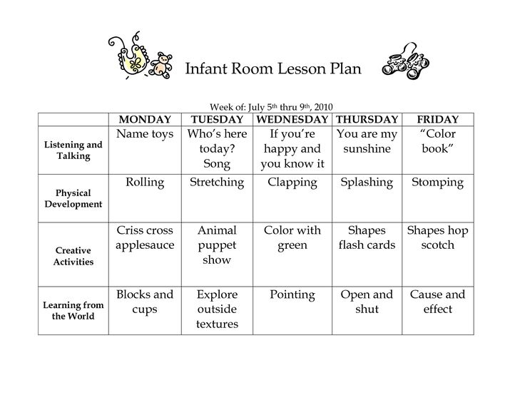 Infant Room Lesson Plan - Westlake Childcare