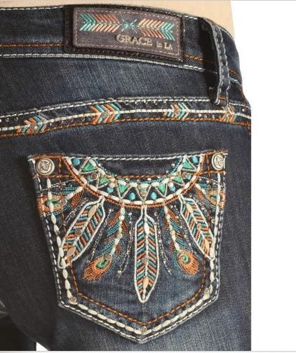 "Grace in LA Bootcut Jeans - Zip fly with button closure - 5 pocket construction - Whiskered, faded, embellished detail - Approx. 8"" rise, 34"" length - 98% Cotton 