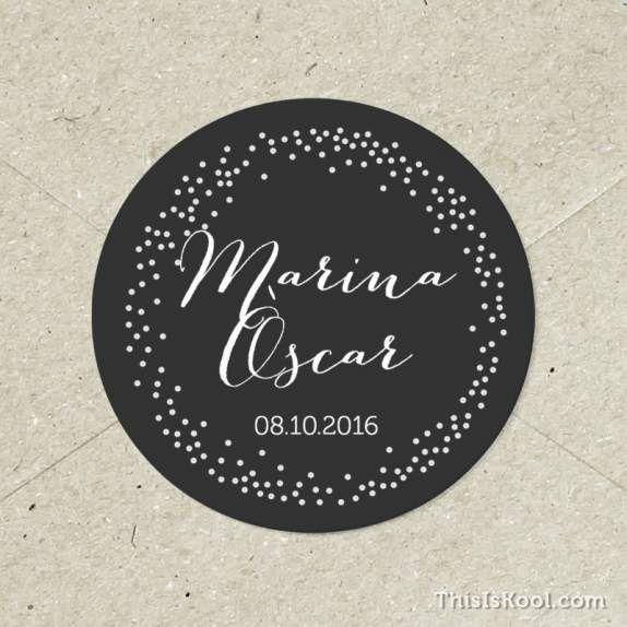 Adhesivos personalizados para decorar todos los detalles de vuestra boda.