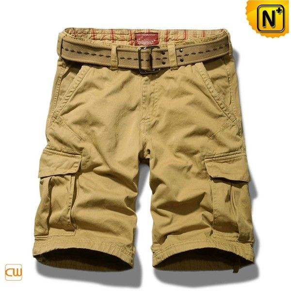 Mens Cotton Khaki Cargo Hiking Shorts CW140173 ❤ liked on Polyvore featuring mens and men's clothing