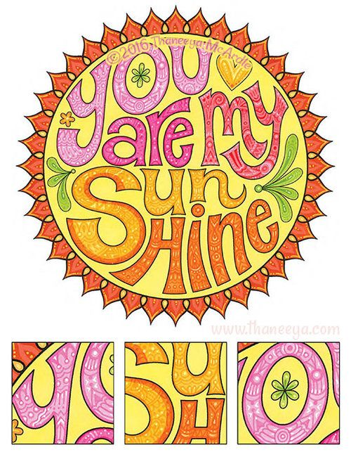You Are My Sunshine Coloring Page By Thaneeya Coloring Pages