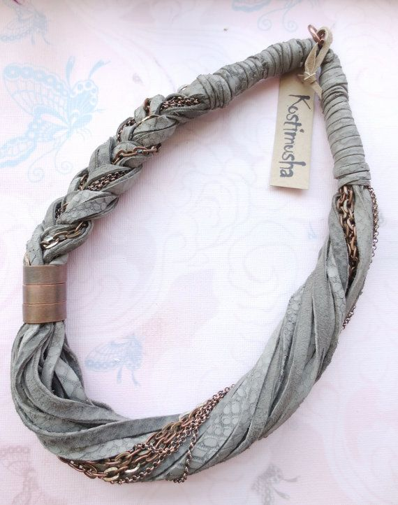 Leather Necklace Gray and Copper Chain Statement by Kostimusha
