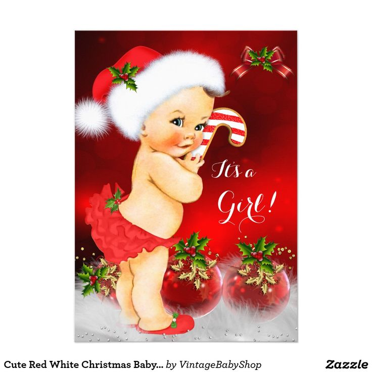 Cute Red White Christmas Baby Shower Girl Brunette 5x7 Paper Invitation Card
