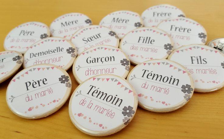 Badges mariage vintage, champêtre, fanions, dentelle pour témoins et toute la famille : Pins, badges par weddingtouch