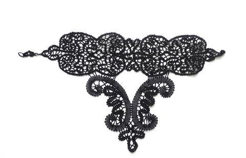 Black Lace Choker handmade statement Necklace – leFilomille