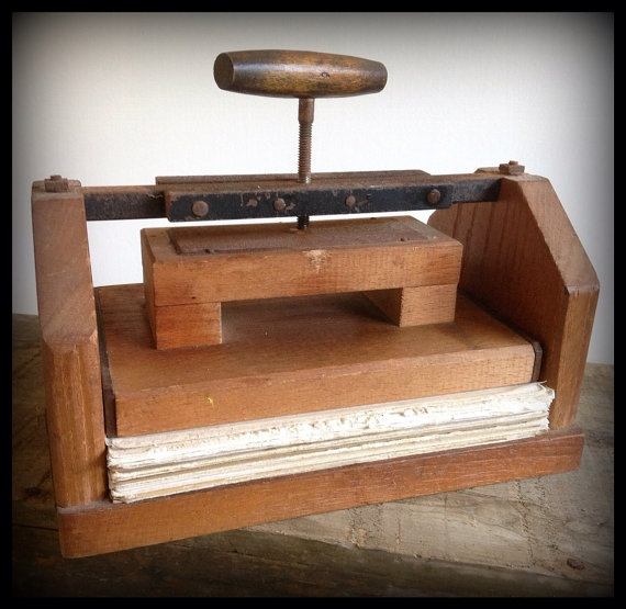 Vintage Antique Wood Flower Press Hand Crank Hardware