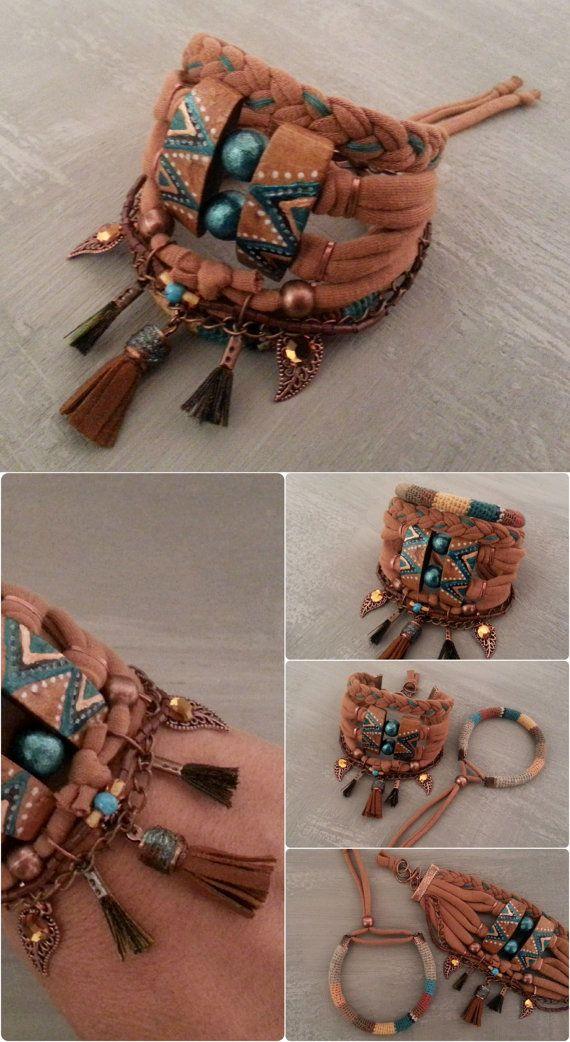 Copper Turquoise Tribal Gypsy Bracelet Boho by vanessahandmade