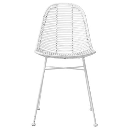 Dom Chair, White Rattan w/White Legs