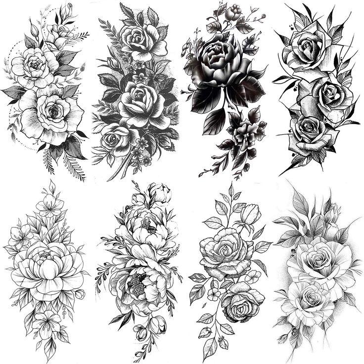 VANTATY eight Sheets Reasonable Flower Rose Momentary Tattoos For Girls Physique Artwork Larg…