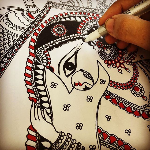 Dulhan..A beautiful indian bride in her palanquin!!! #madhubani #dulhan…