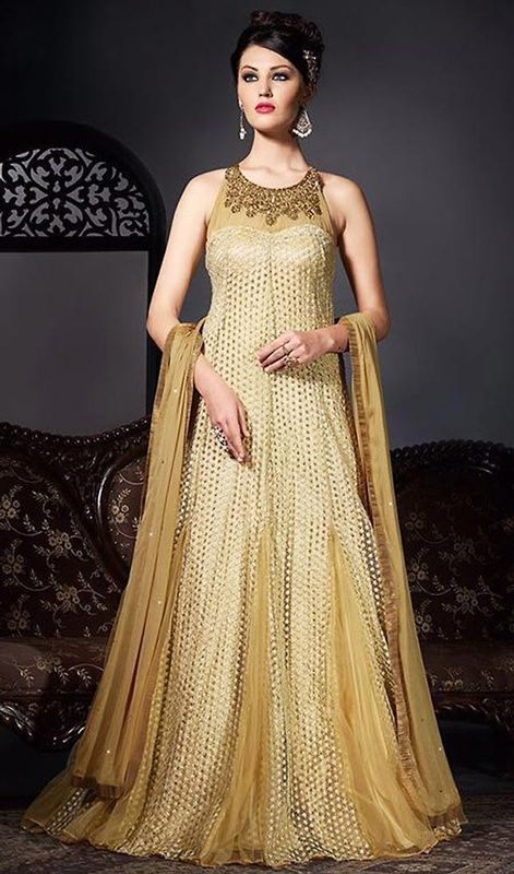 Brown Color Embroidered Shantoon and Net Gown
