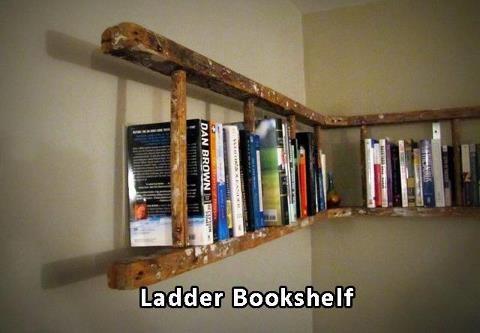 Ladder Bookshelf!Book Shelf, Bookshelves, Old Ladders, Bookcas, Book Shelves, Cool Ideas, House, Diy, Ladders Bookshelf