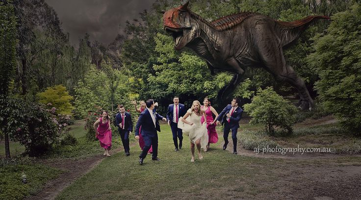 In the calm of the afternoon while our bridal party were relaxing we heard a rustle in the bushes and NO ONE had any idea that a prehistoric beast would come bounding out looking for a snack ... or two ............ by www.aj-photography.com.au