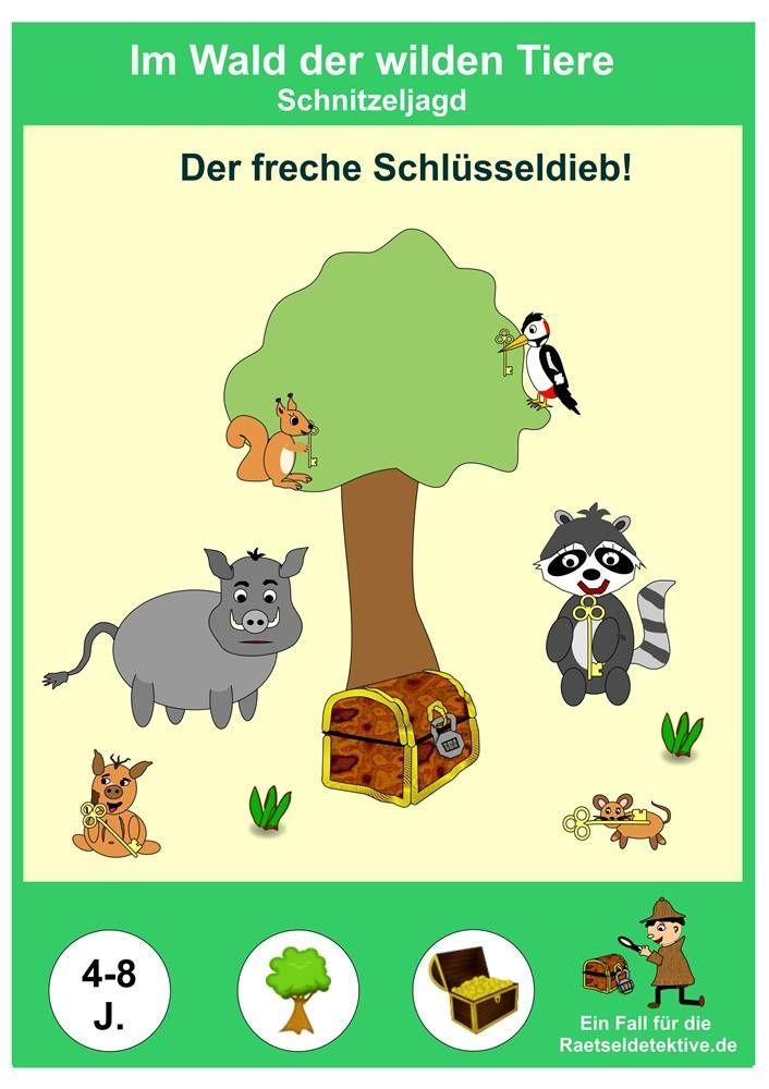 Fertige Schnitzeljagd Thema Tiere Im Wald Ratsel Aufgaben Spiele Mit Waldtieren Scha Schnitzeljagd Schnitzeljagd Kindergeburtstag Schnitzeljagd Kinder
