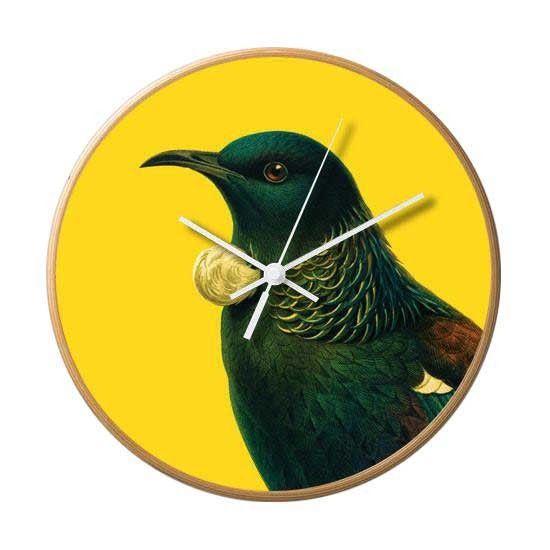 Bright New Zealand Tui Wooden Frame Wall Clock