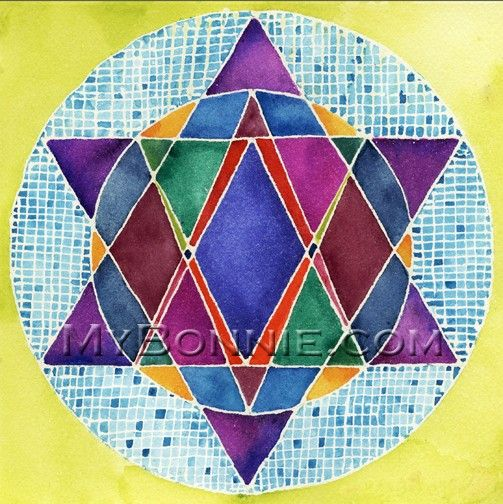 STAR OF DAVID 6 Colorful Original Art Note by MyBonnieDesigns, $15.00