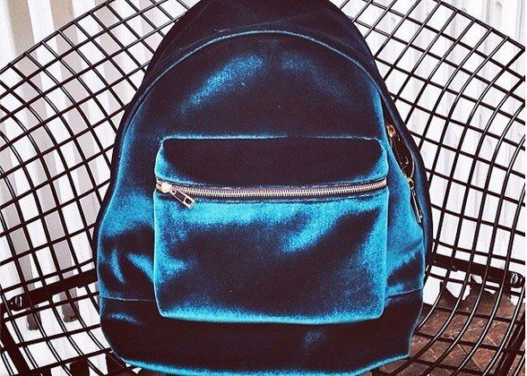 Velvet backpack - I'm kind of glad I did not see this sooner and got inspired- I love my slimline messenger bag, its so less clunky than a backpack, not matter how soft and luxurious.: