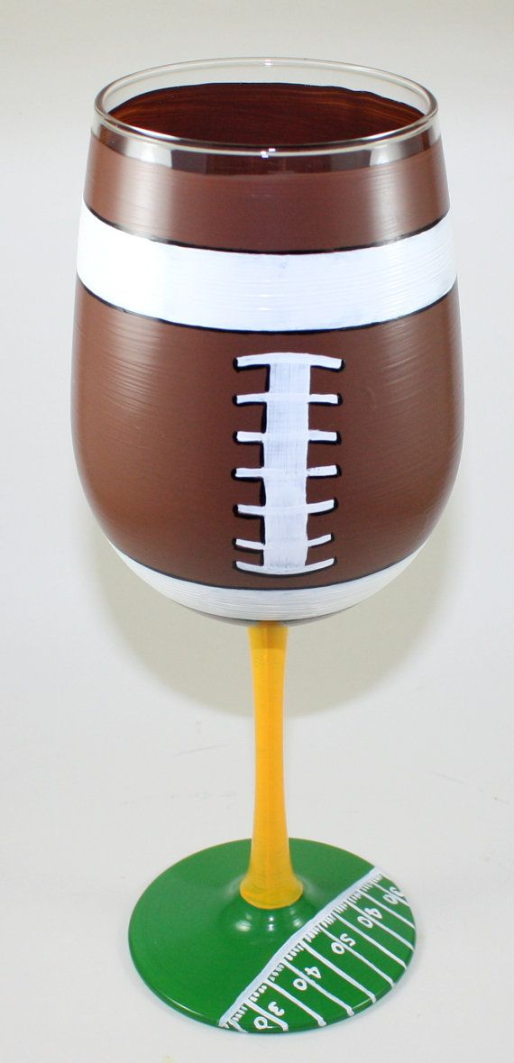 Football Wine Glass Hand Painted NFL Fan by ImpulsiveCreativity, $22.00