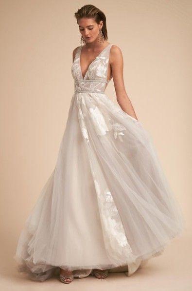 Ebay Bhldn Watters Hearst Wedding Dress Size 4 Silver In Color