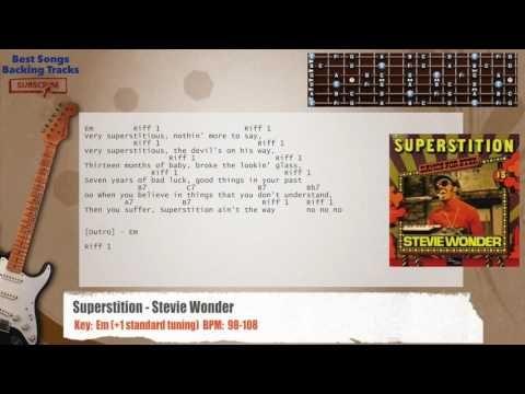 Superstition - Stevie Wonder Guitar Backing Track with chords and lyrics