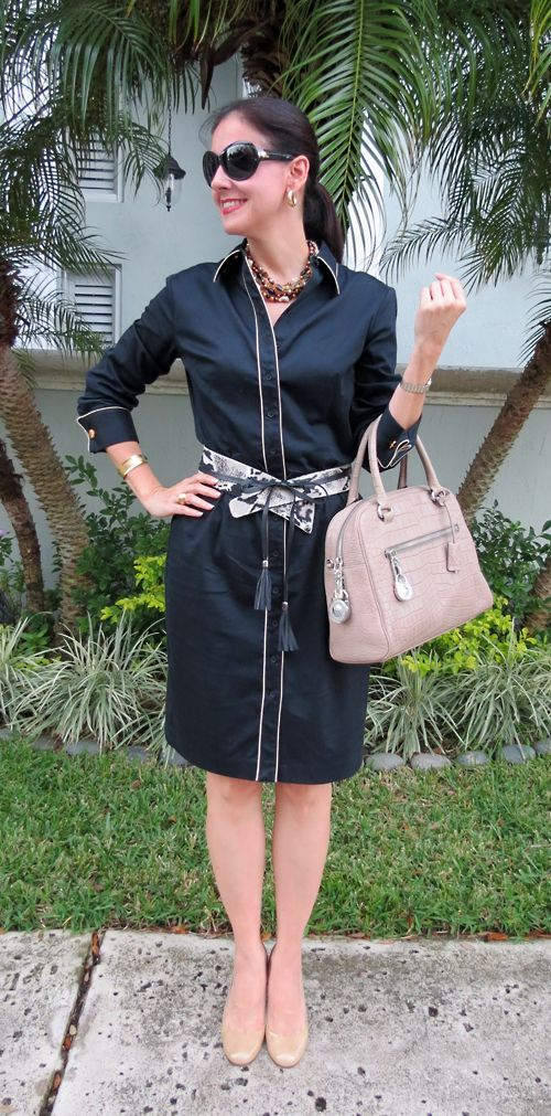 Black Cotton Sateen Shirtdress, Spotted Calfhair Obi Belt, Nude Kate Spade Karolina Shoes, Crocodile-Embossed Michael Kors Bag, Ralph Lauren Sunglasses. Casually classic outfit!