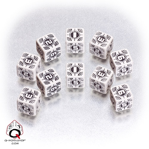 White-black Sniper battle dice set