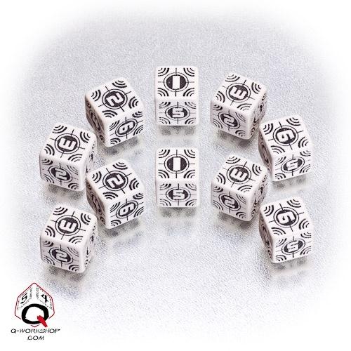 White-black Sniper battle dice set