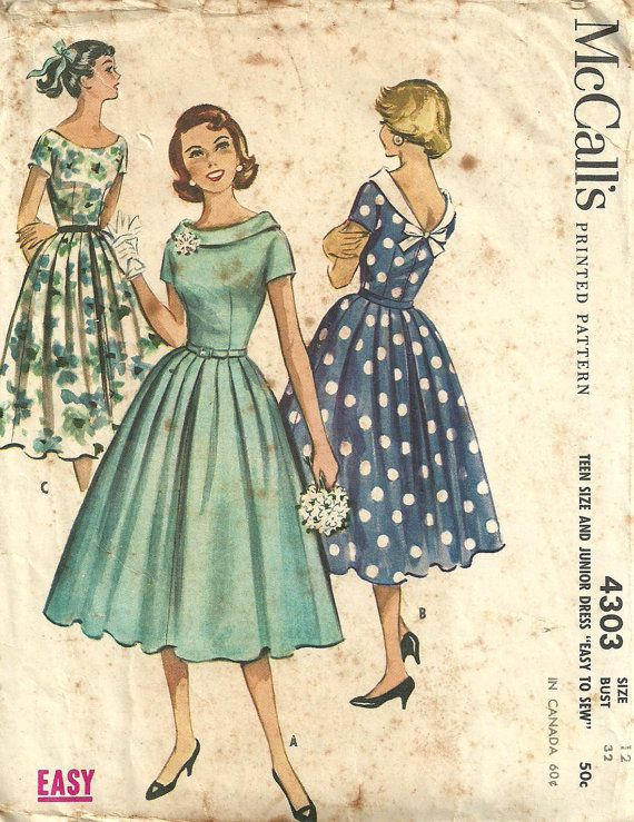 Love this classic style..McCalls 4303 Vintage 1950s Sewing Pattern Dress by studioGpatterns, $16.50