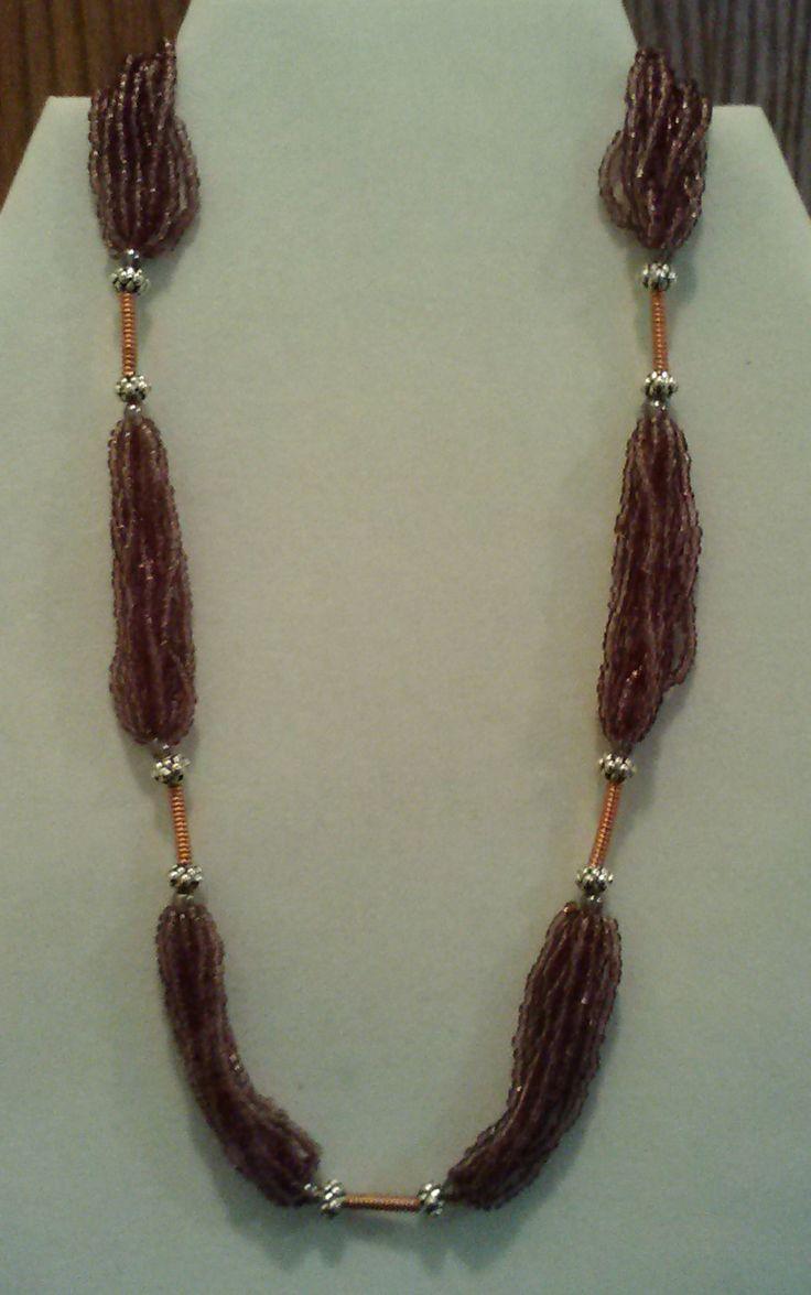 Fatti a mano dieci Strand collana ametista con bobine di rame