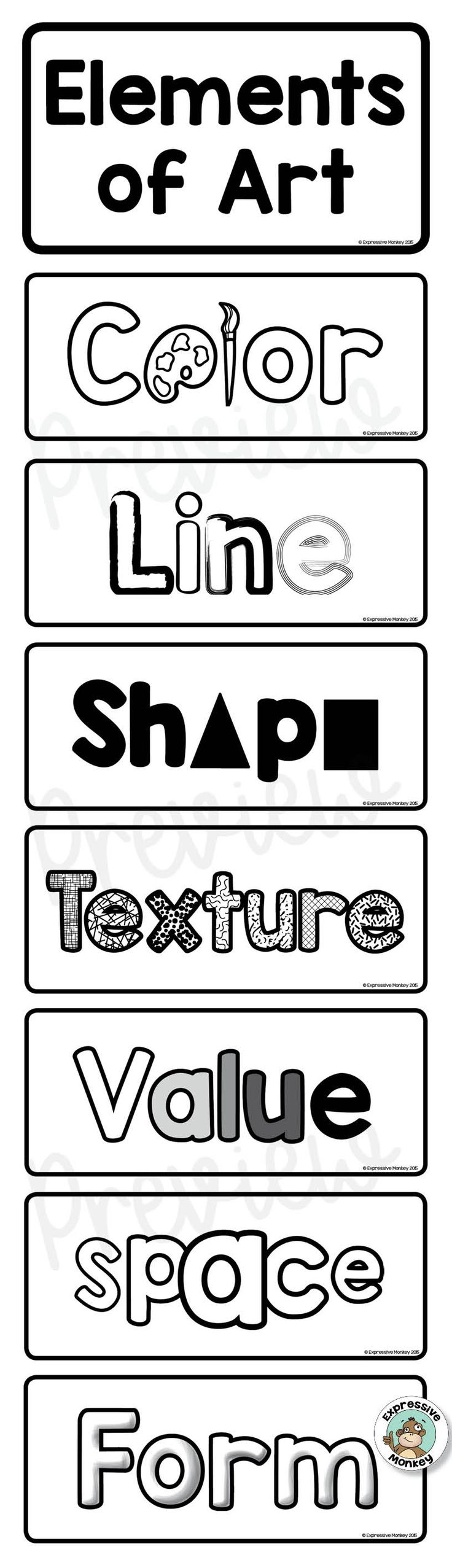 Teach the elements of art with ease using this interactive sketchbook activity.  Great to introduce or review the elements of art.  This page includes line, color, shape, value, form, space and texture. The opening flaps can reveal a definition, design or