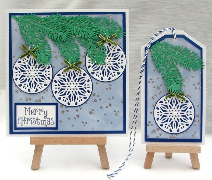 A wonderful co-ordinating card and tag from reader, Jackie Trinder using the FREE Crafter's Companion bauble die from Simply Cards & Papercraft 129! Grab your copy here: http://www.moremags.com/papercrafts/simply-cards-papercraft/simply-cards-129