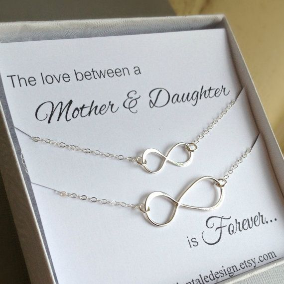 Mother Daughter Necklace Set, Infinity Necklace Set, Christmas Gift For Mom, Sterling Silver, Two Necklace Set, Jewelry With Card