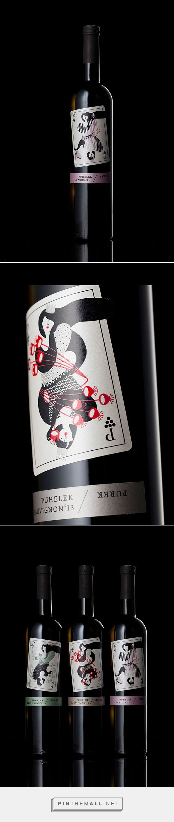 Puhelek-Purek wine label on Behance by Željka Županić, Zagreb, Croatia curated by Packaging Diva PD. Idea was to make illustrations of the Queen of playing cards for all the wine sorts, as the wine is made by two sisters that own a little Croatian winery.