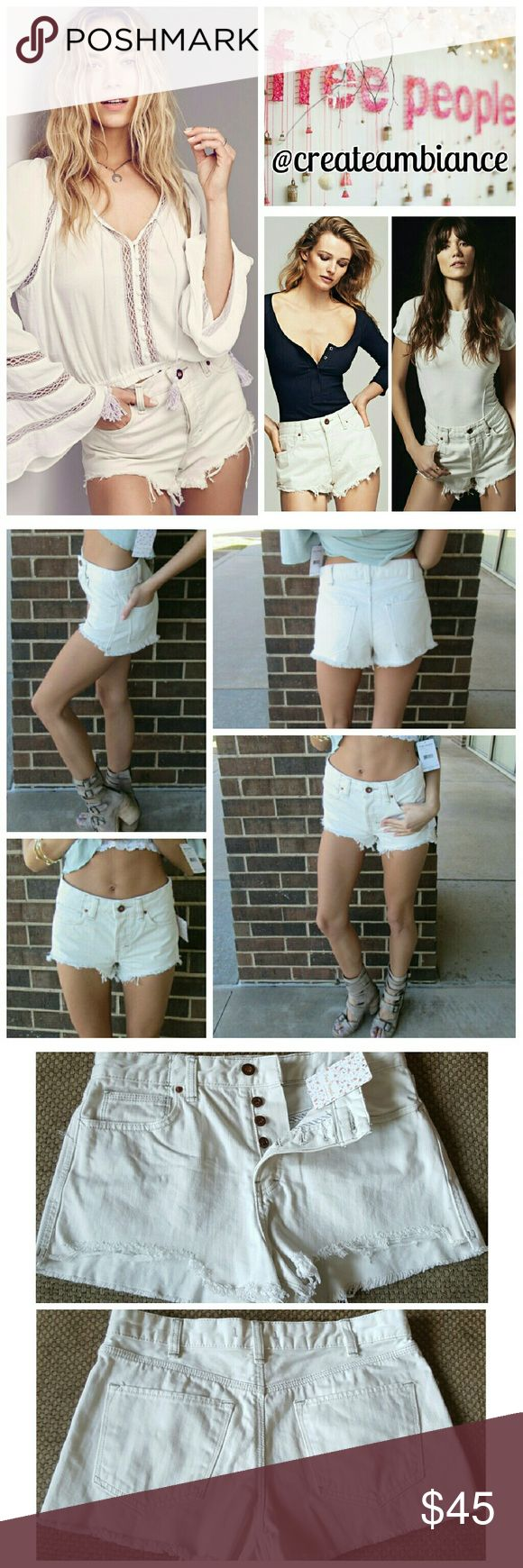 Free People High Rise Cutoff Jean Shorts Free People High Rise Cutoff Jean Shorts in optic white.  No trade, discount with bundle! Considering all reasonable offers made via the blue offer button only! Free People Shorts Jean Shorts