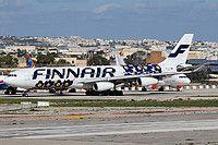 Finnair Airbus A340-313 OH-LQD aircraft, skating at Malta Luqa International Airport. 04/11/2016.