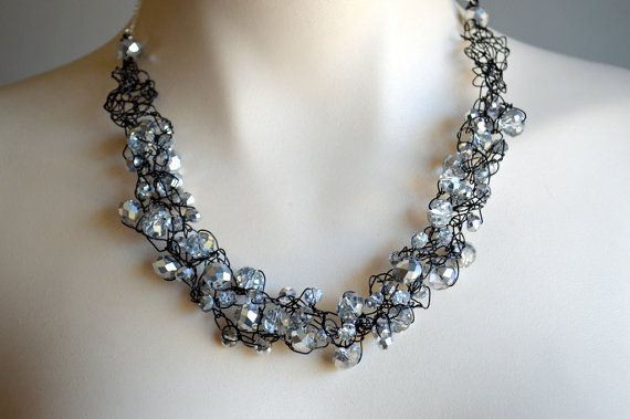 Crystal and black wire crochet necklace wire by starrydreams