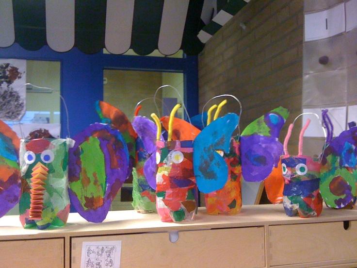 Lampion voor 11 november! Pet-fles versierd als vlinder/olifant..
