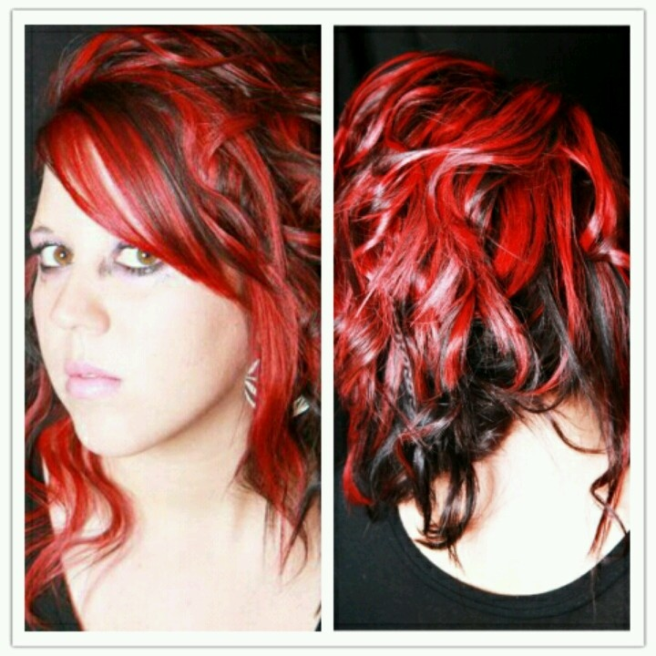 62 best hair images on pinterest wedding flowers before after color cut and style bright red highlights really pop against the dark hair pmusecretfo Choice Image