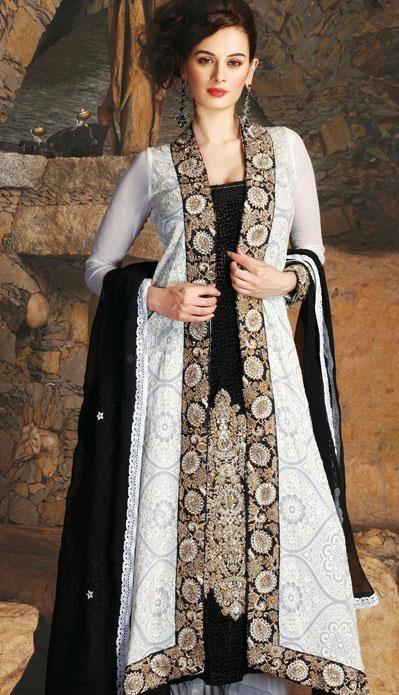 $149.77 White Thread Work Velvet Anarkali Salwar Suit 24871