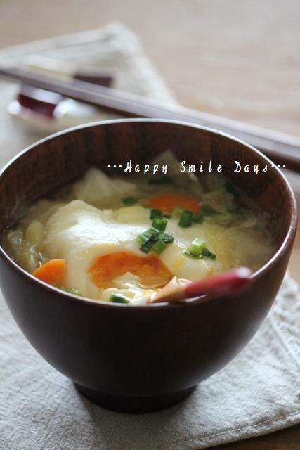 落とし卵のお味噌汁。