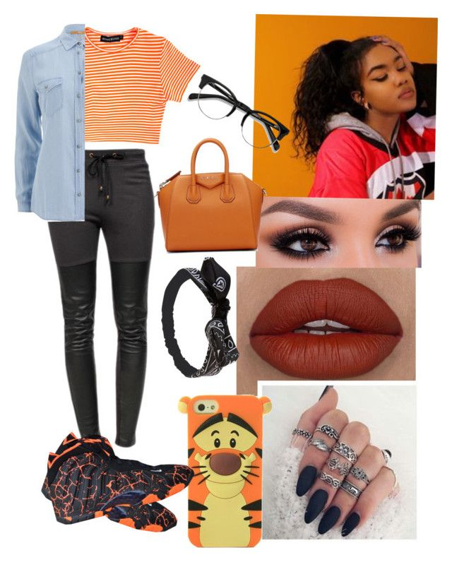 """""""ORANGE🍊"""" by jewelz0383 ❤ liked on Polyvore featuring Ragdoll, BOSS Orange, NIKE, Givenchy and Wet Seal"""
